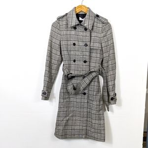 A.L.C. Baldwin Plaid Double Breasted Trench Coat